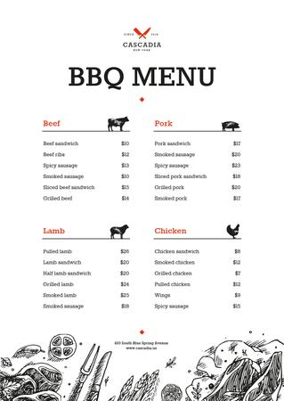 Ontwerpsjabloon van Menu van BBQ dishes list