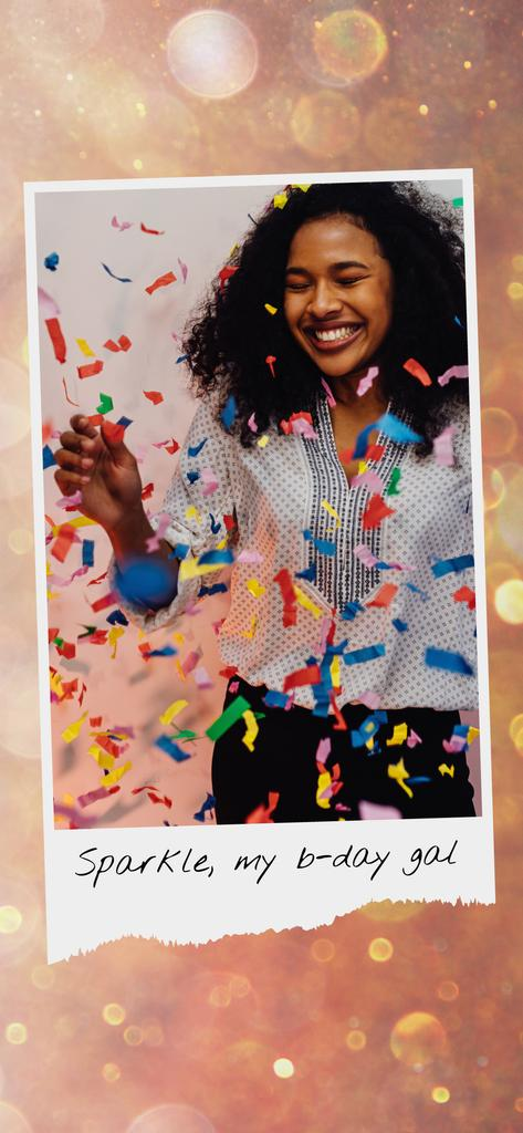 Birthday Celebration Girl Under Confetti — Crear un diseño