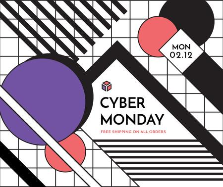 Cyber Monday sale on geometric pattern Facebook Tasarım Şablonu