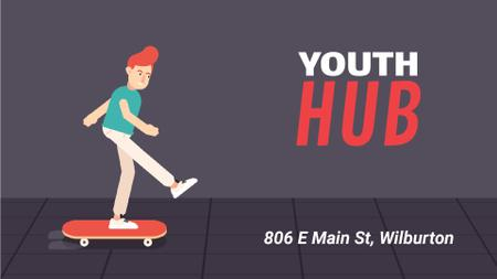 Plantilla de diseño de Young Man Riding Skateboard Full HD video