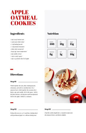 Apple Oatmeal Cookies Recipe Card Tasarım Şablonu