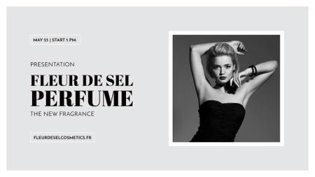 Perfume ad with Fashionable Woman in Black FB event cover Modelo de Design