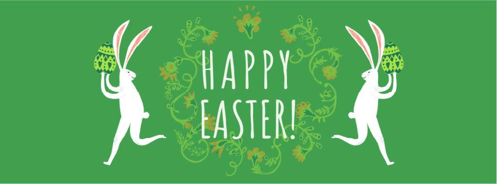 Happy Easter card with White Rabbit - Bir Tasarım Oluşturun