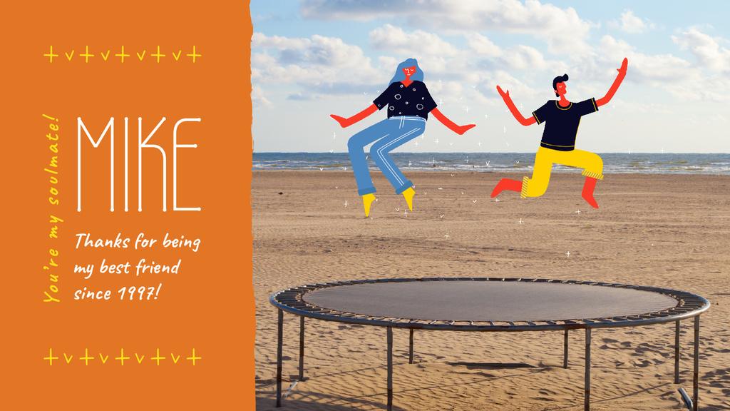 People jumping on trampoline — Maak een ontwerp
