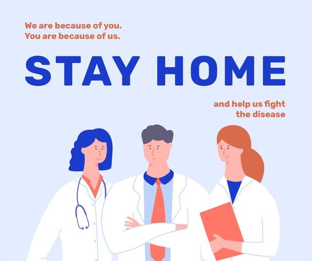 Plantilla de diseño de #Stayhome Coronavirus awareness with Doctors team Facebook