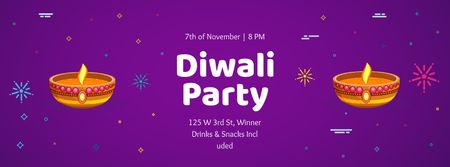 Modèle de visuel Happy Diwali Party celebration - Facebook cover