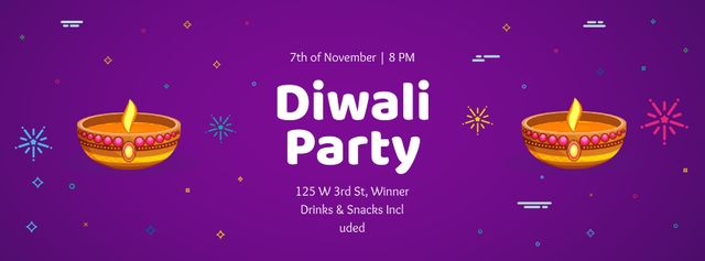 Happy Diwali Party celebration Facebook cover – шаблон для дизайна