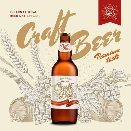 Plantilla de diseño de Beer Day Special Bottle Craft Beer Instagram