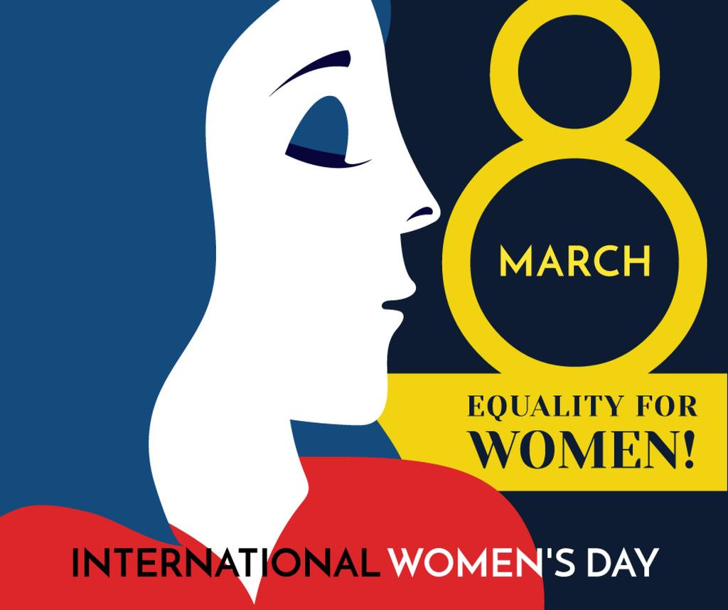 Women's day greeting with female profile — Modelo de projeto