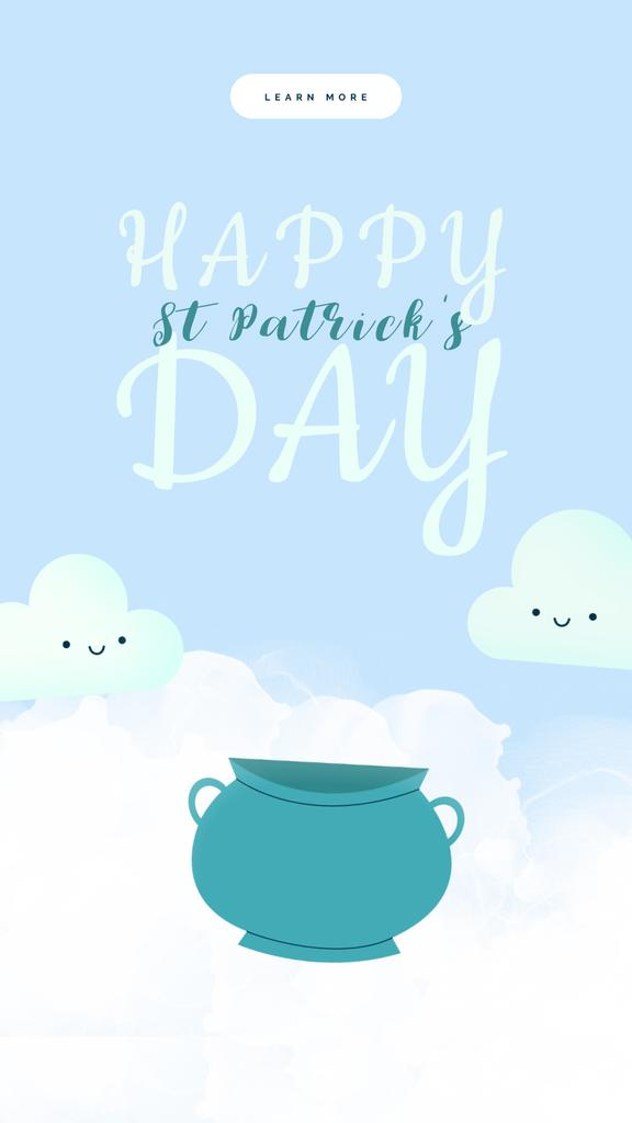 Saint Patrick's Day Greeting Clouds Golden Coins | Vertical Video Template — Create a Design