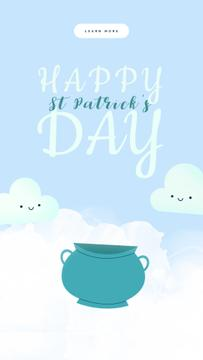 Saint Patrick's Day Greeting Clouds Golden Coins | Vertical Video Template