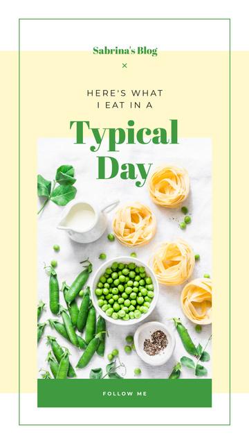 Ontwerpsjabloon van Instagram Story van Green peas and pasta