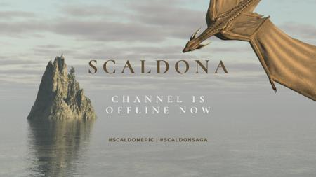 Dragon flying over small Island in Sea Twitch Offline Banner – шаблон для дизайна