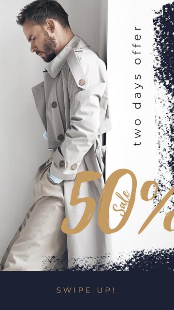 Handsome man in white Instagram Story Modelo de Design