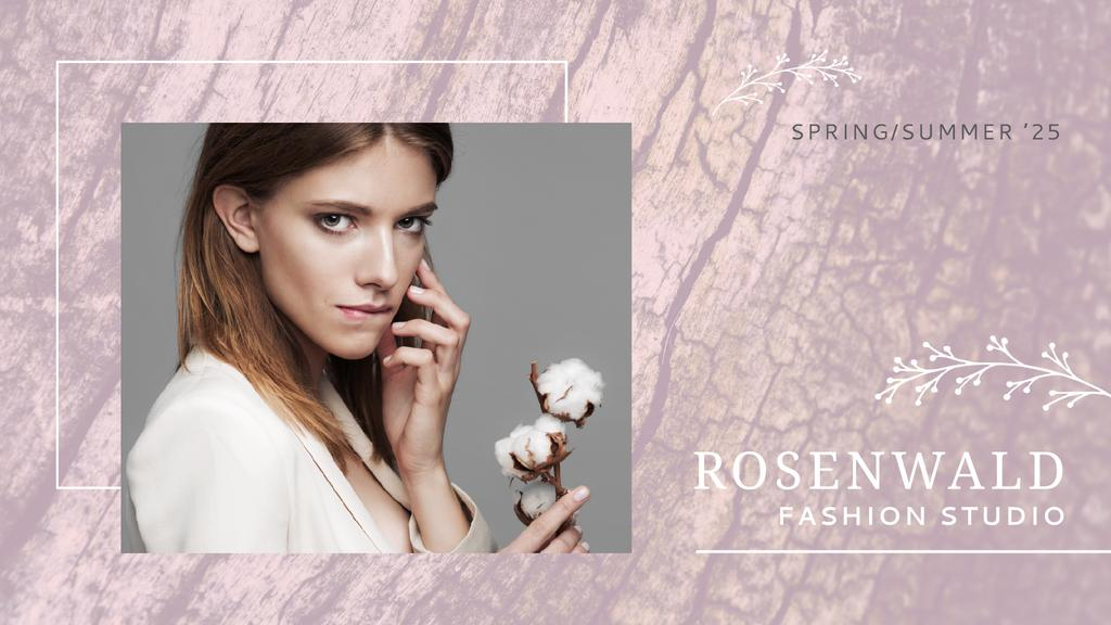 Fashion Ad Attractive Woman with Cotton Flower in Pink — Создать дизайн