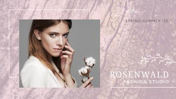 Fashion Ad Attractive Woman with Cotton Flower in Pink