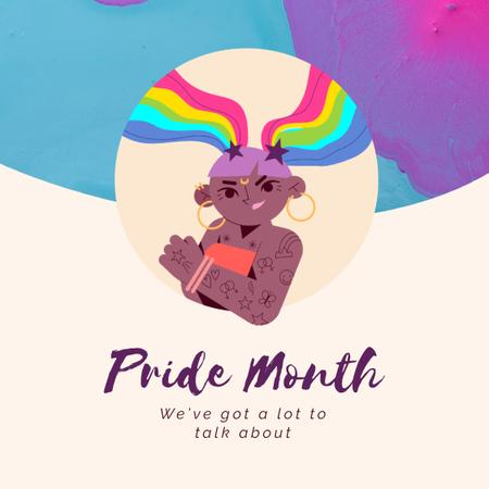 Pride Month with Confident lgbt girl with Rainbow Hair Animated Postデザインテンプレート