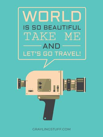 Motivational travel quote with Camera Poster US – шаблон для дизайна