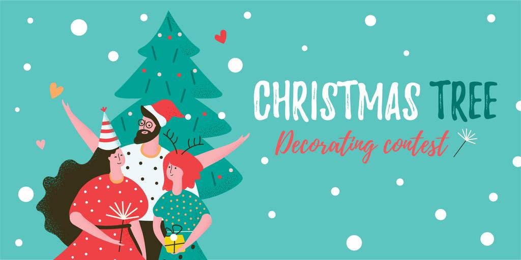 Christmas Tree Decoration Contest with Happy People in Santa Hats —デザインを作成する
