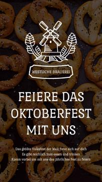 Oktoberfest Invitation with Pretzels and Mill