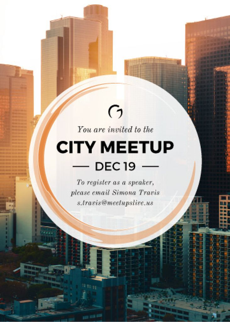 City meetup announcement on Skyscrapers view — Crea un design