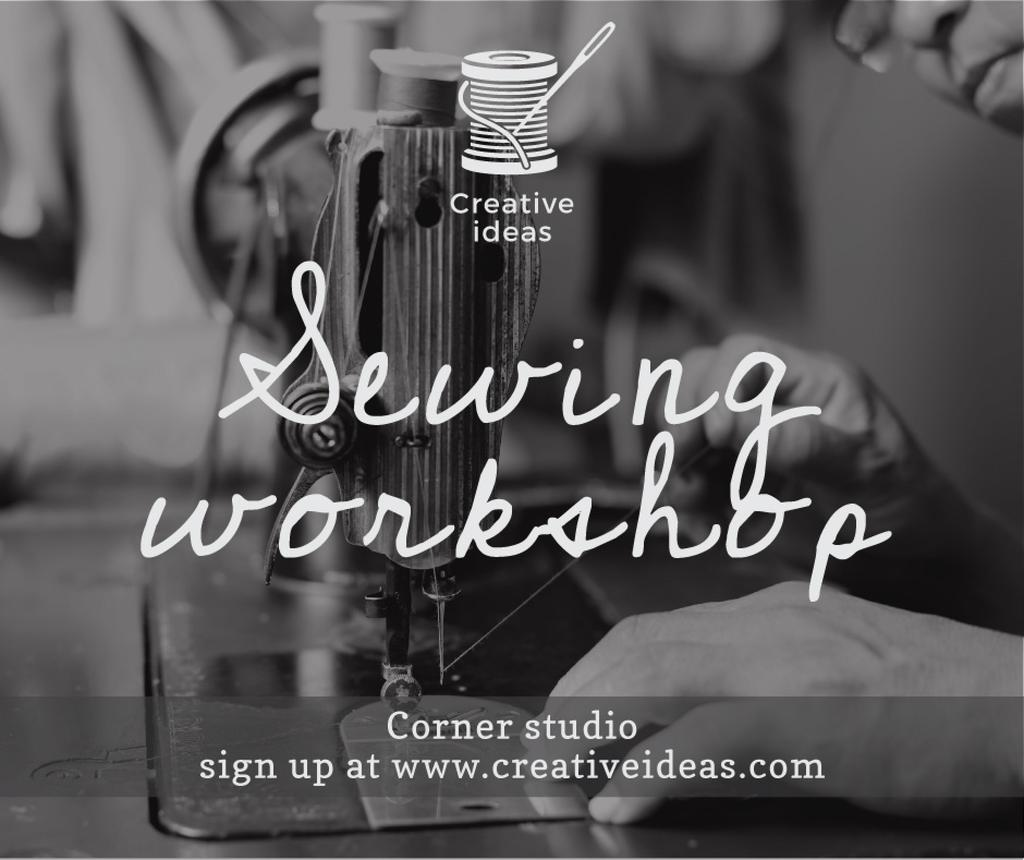 Sewing Workshop Ad Tailor at Sewing Machine — Create a Design