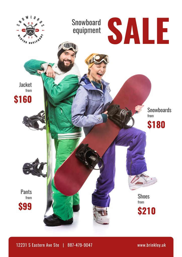 Snowboarding Equipment Sale People with Boards — Створити дизайн