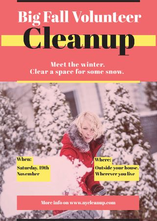 Plantilla de diseño de Woman at Winter Volunteer clean up Invitation