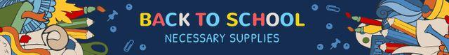 Ontwerpsjabloon van Leaderboard van Back to School Sale Stationery on Blackboard