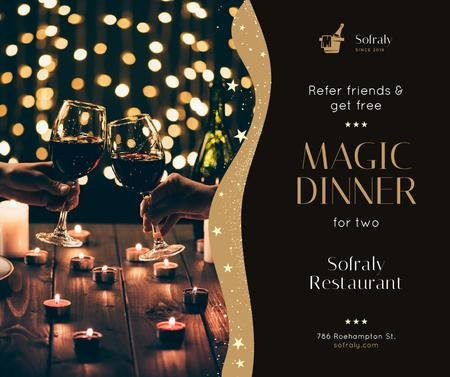 Restaurant Dinner Invitation People Toasting with Wine Facebook Tasarım Şablonu
