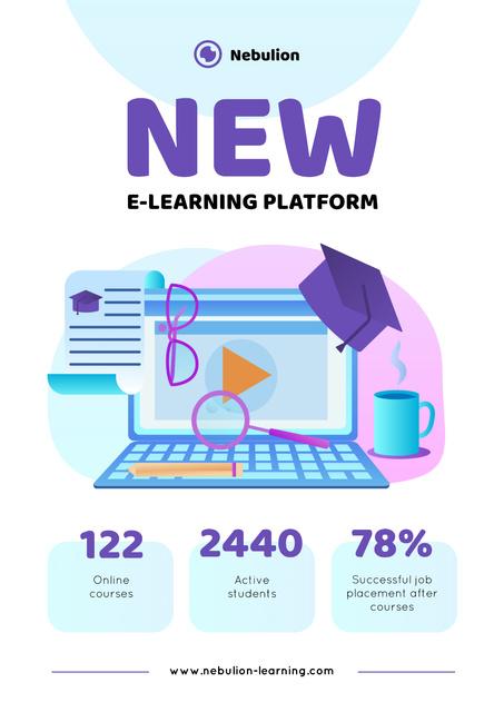 Plantilla de diseño de Online learning Platform Annoucement Poster