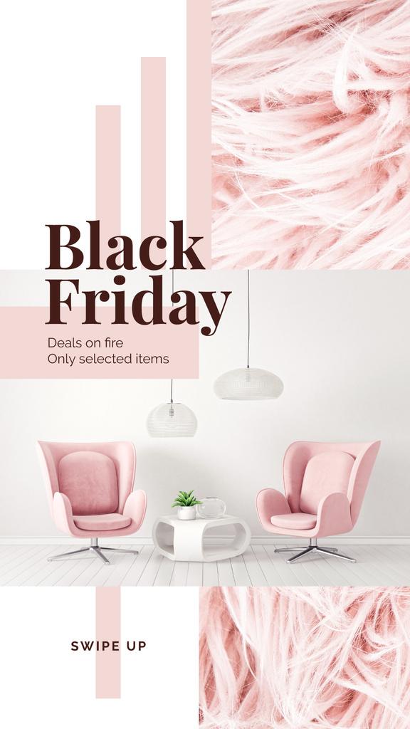 Black Friday Deal Cozy Interior in Pink Color   Stories Template — Maak een ontwerp