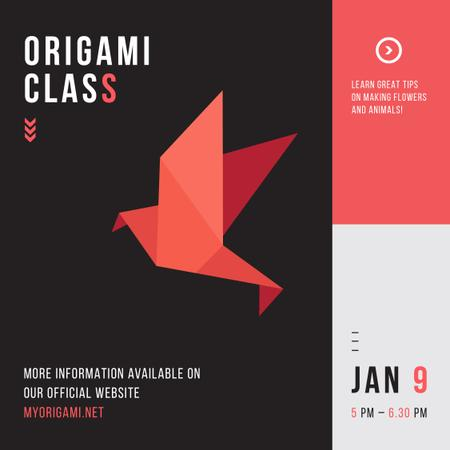 Origami Classes Invitation Paper Bird in Red Instagram AD Tasarım Şablonu