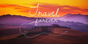 Motivational travel quote with Scenic Landscape