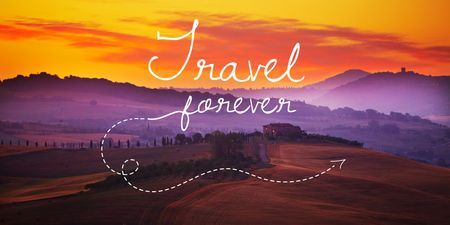 Motivational travel quote with Scenic Landscape Twitter Tasarım Şablonu