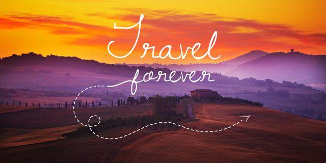 Plantilla de diseño de Motivational travel quote with Scenic Landscape Twitter