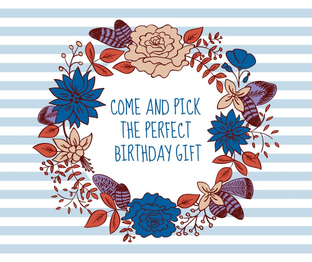Happy Birthday Greeting Card Facebook Post 940x788px Template