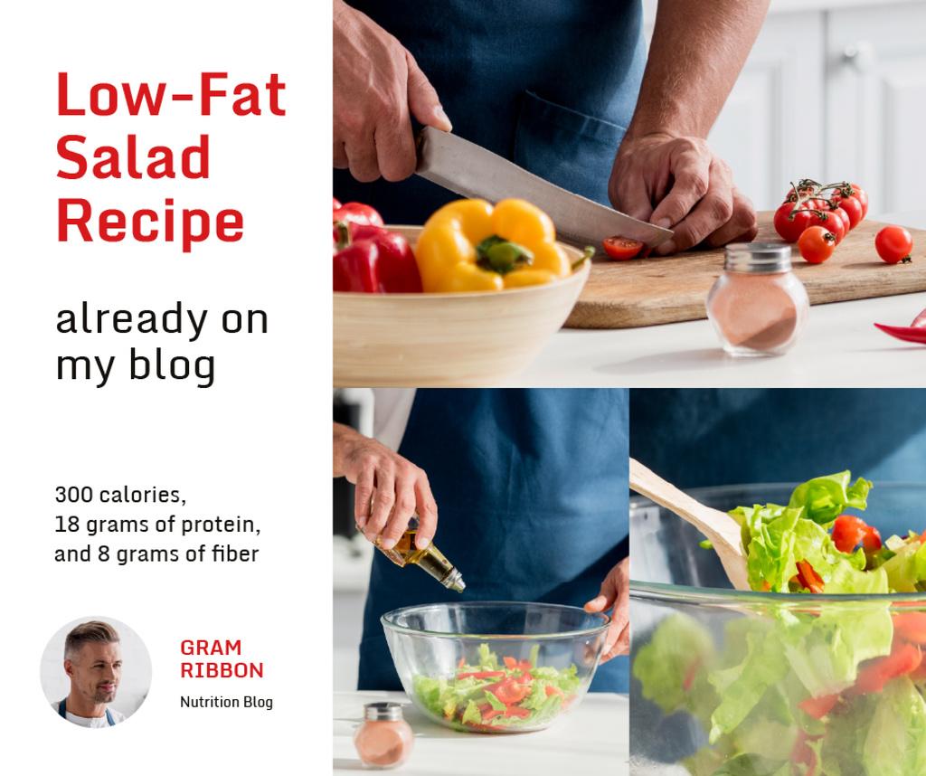 Cooking Blog Ad Chef Cutting Vegetables — Maak een ontwerp