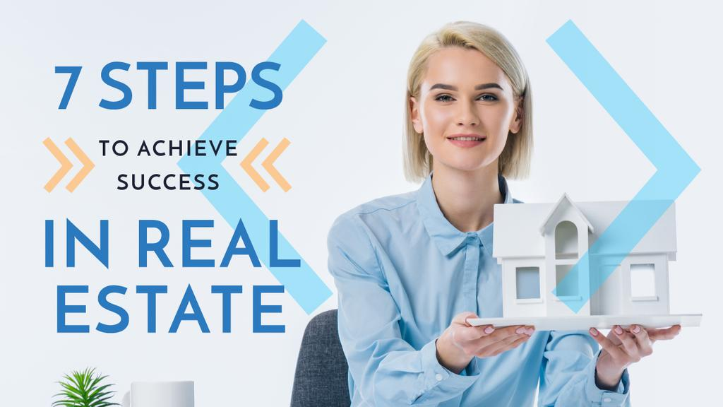Plantilla de diseño de Real Estate Tips Agents Holding House Model Youtube Thumbnail