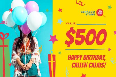 Birthday Sale with Girl with Balloons Gift Certificate Tasarım Şablonu