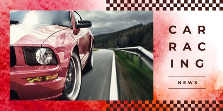Plantilla de diseño de Modern fast car on road Twitter