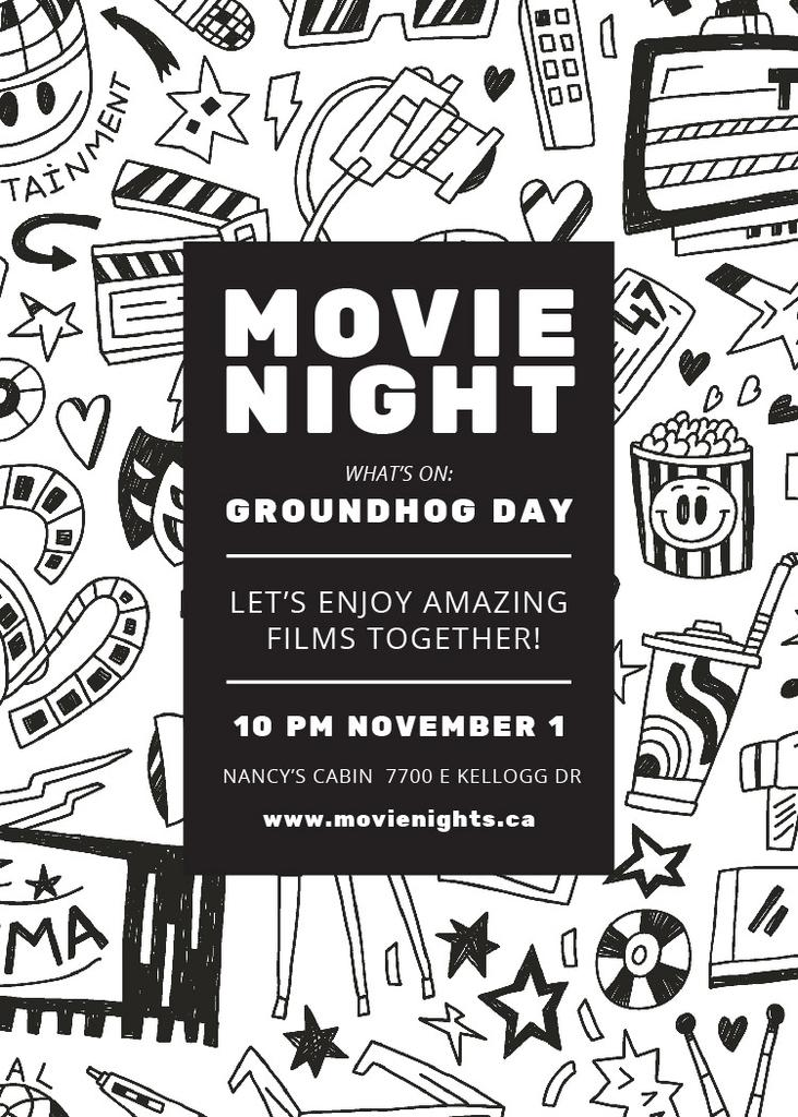 movie night event flyer template design online crello