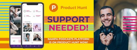 Product Hunt Campaign with Man Wearing Headphones Facebook cover Modelo de Design