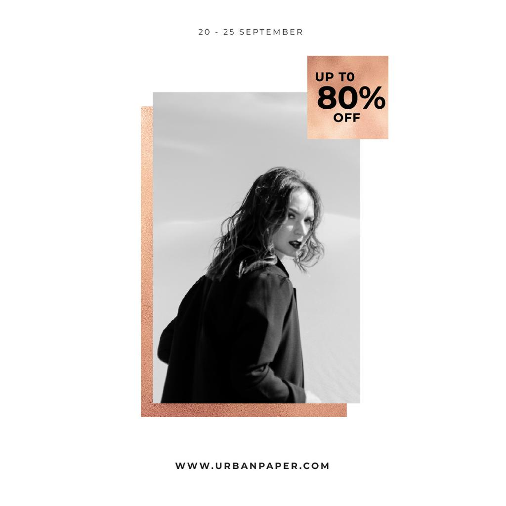 Special Fashion Sale with Woman in black coat — Crea un design