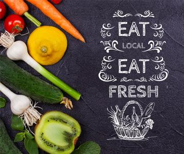 Local Food Vegetables and Fruits on Black | Facebook Post Template