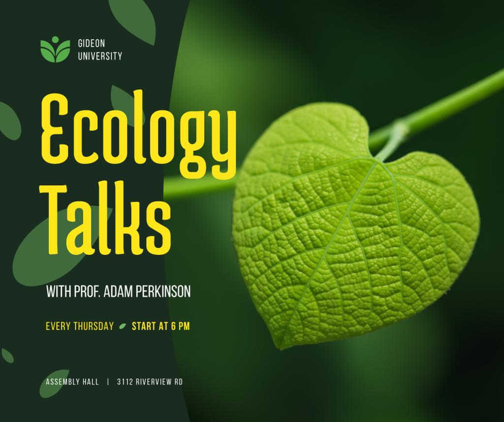 Designvorlage Ecology Event Announcement Green Plant Leaf für Facebook