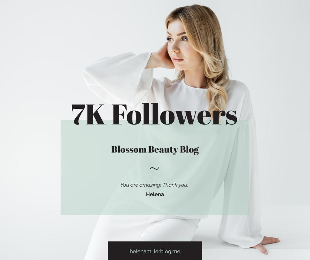 Beauty Blog Ad Attractive Woman in White — Create a Design