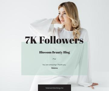 Beauty Blog Ad Attractive Blonde Woman in White | Facebook Post Template