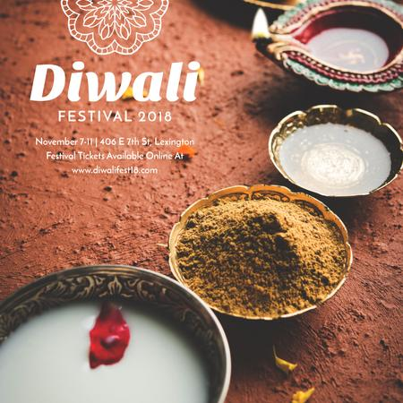 Happy Diwali celebration with spices Instagram AD Design Template