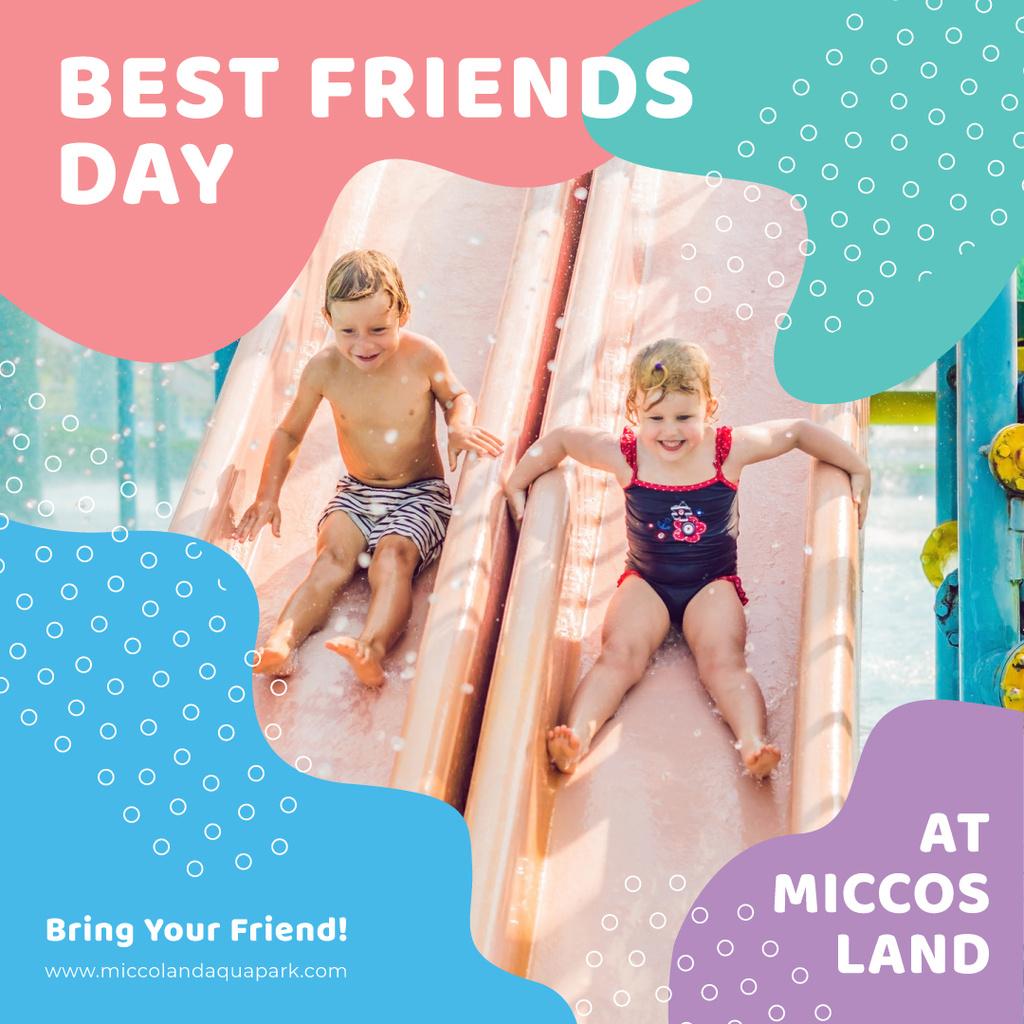 Best Friends Day offer with Kids at amusement park — ein Design erstellen
